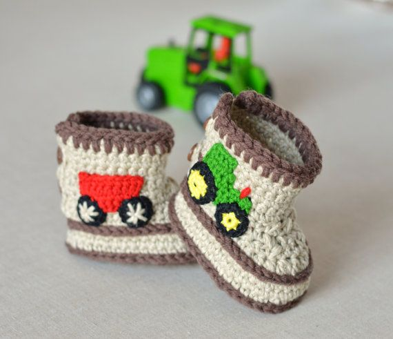 Crochet Pattern Baby Booties Tractor Booties in 3 Sizes Baby Boy ...
