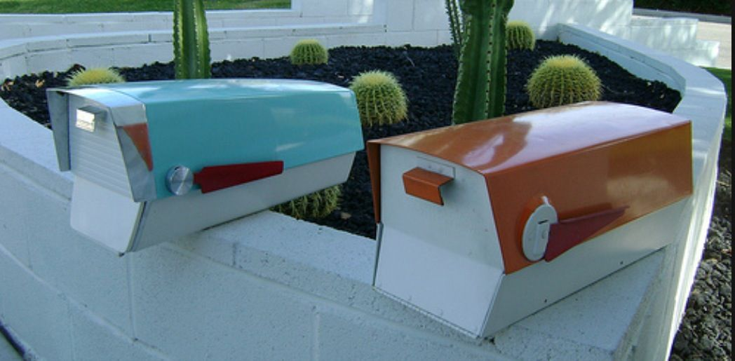 Restored Mid Century Mailboxes I Crave The Turquoise One Mid Century Modern Mailbox Modern Mailbox Vintage Mailbox
