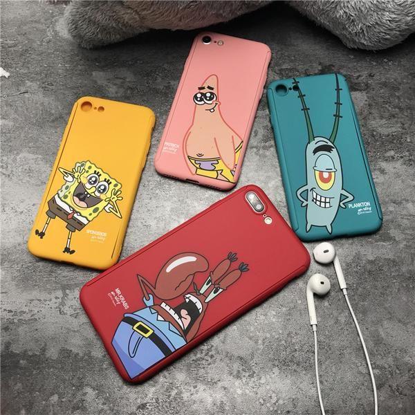 360 Degree Full Body Protective Phone Case For iPhone 7 8 6 6s Plus back cover SpongeBob Patrick Star Phone case capa fundas