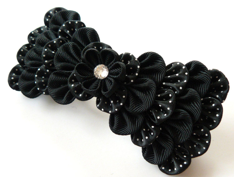 Black bow hair accessories - Kanzashi Fabric Flower French Barrette Black Bow Barrette Black Bow Hair Piece