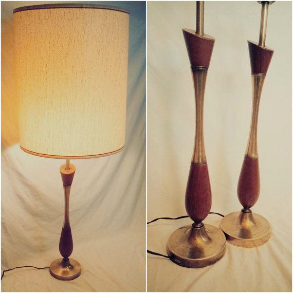 Vintage 1950 60 S Mid Century Danish Modern Teak Heyco Wood Brass Table Pair Of Lamps Danish Modern Lighting Lamp Lamp Bases