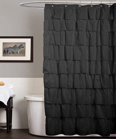 Black Ruffle Shower Curtain By Lush Decor Ruffle Shower