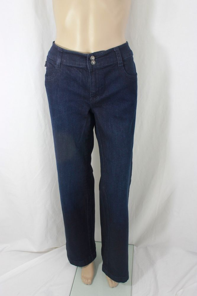 White House Black Market Blue Denim Jean Pant W/Crystal Embellishments Size 12