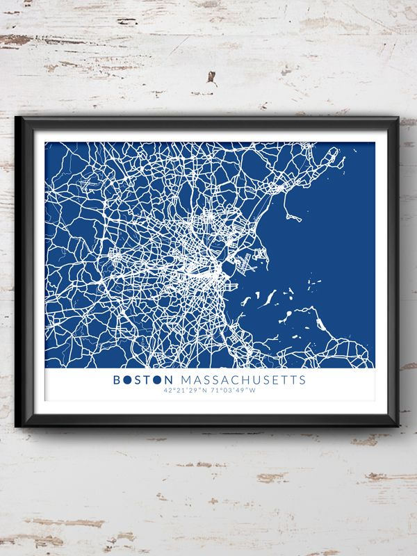 Boston Map With Coordinates, Boston Wall Art, Boston Map, Map Art, Map  Printu2026