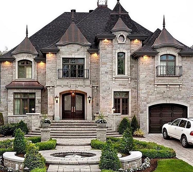 Like The Metal Roof Accents And Pointy Spires Copper For Ours Like The Stone Molding Around The Wi House Designs Exterior House Exterior House Goals Dreams
