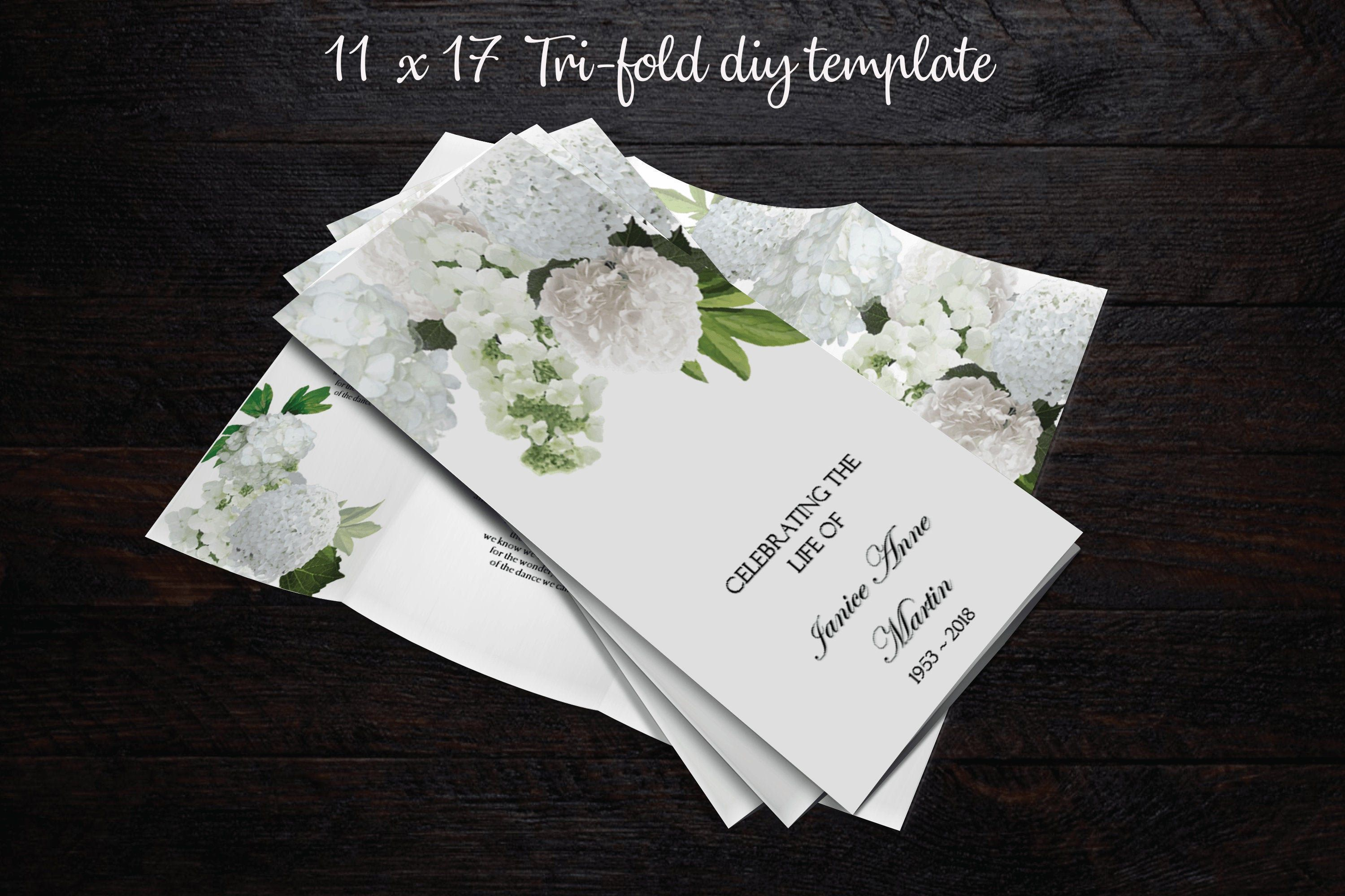 Funeral Program Template 17 X 11 Double Sided Tri Fold Program Microsoft Word Memorial Program Template White Hydrangeas Funeral Program Template Funeral Programs Memorial Program