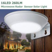 Us 19 99 16leds 260lm Microwave Radar Motion Sensor Led Solar Light Waterproof Ip65 Street Lam Motion Sensor Lights Outdoor Solar Lights Sensor Lights Outdoor