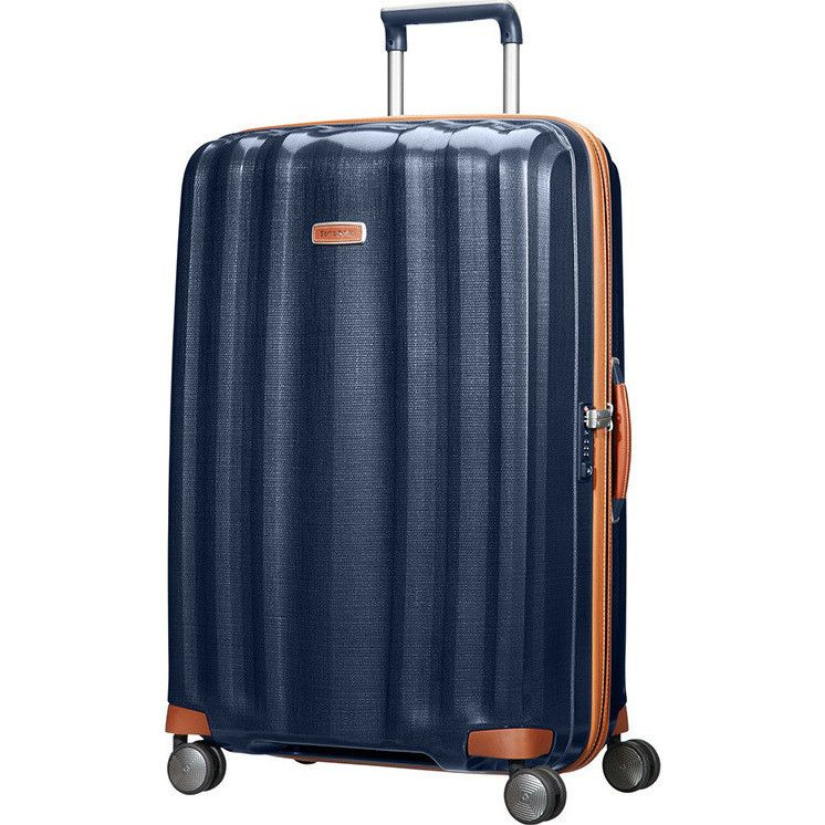 Samsonite Lite Cube Deluxe Large Suitcase in Blue | Buy 4 Wheel ...
