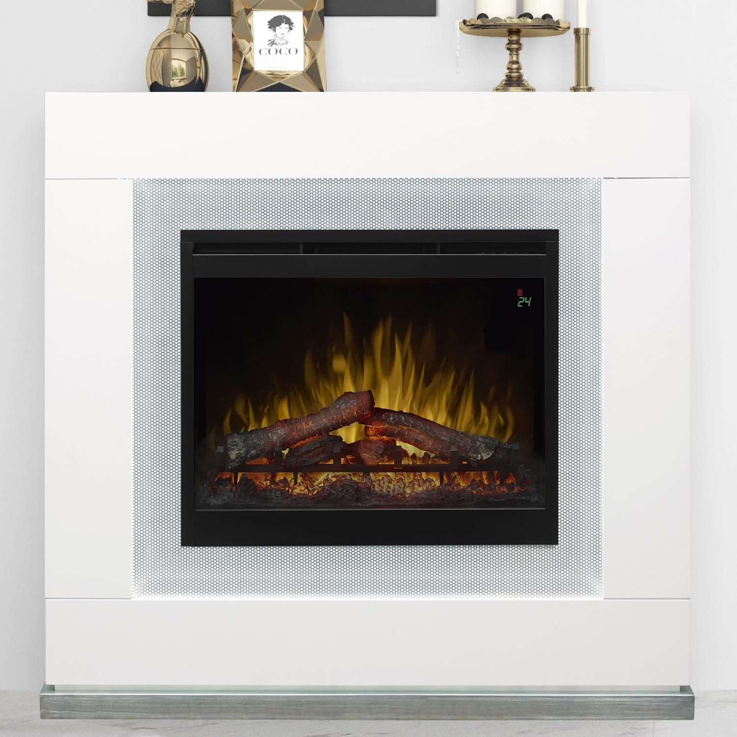 Dimplex Lukas 48 Inch Electric Fireplace Mantel Inner Glow Logs Gloss White Gds26l5 1675w Bbqguys Electric Fireplace Fireplace Fireplace Mantle