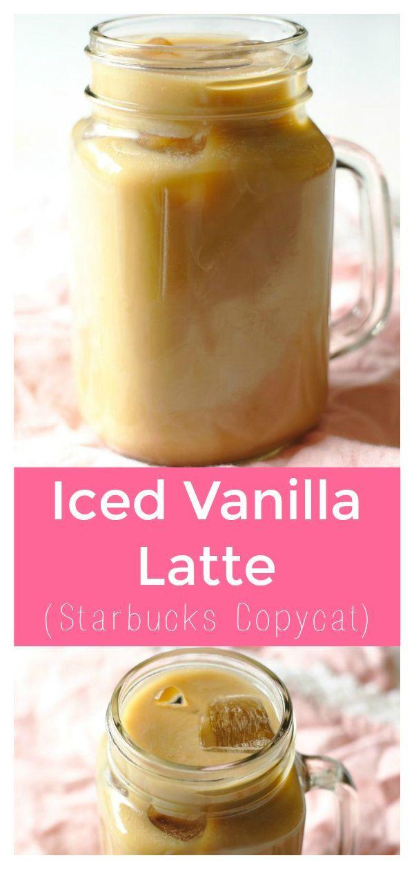 Iced Vanilla Latte - Copycat Starbucks iced vanilla latte that is a fraction of the pr ...
