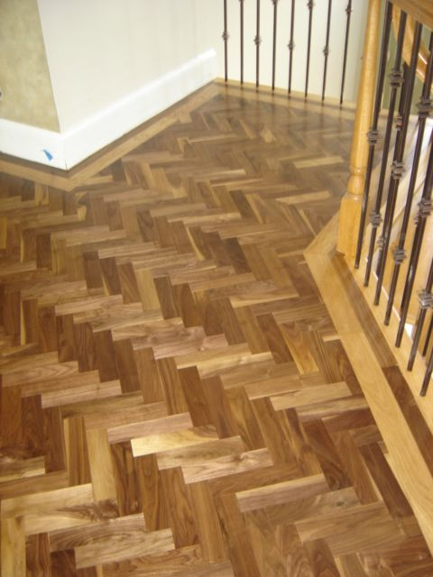 Herringbone Walnut Floor Installation By The Hardwood Giant Co