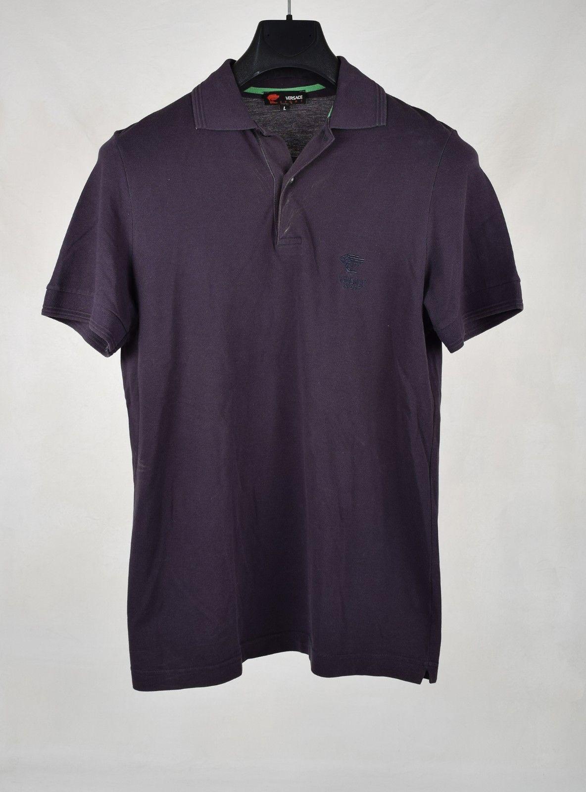 25.00 Versace Sport Mens Polo Shirt Short Sleeve Navy