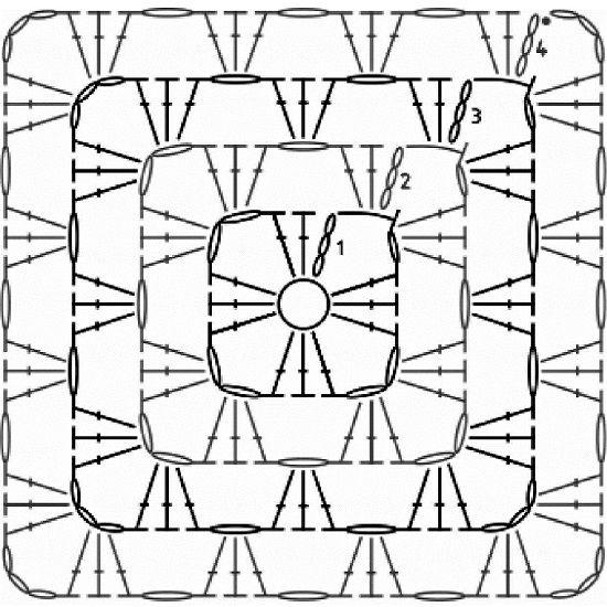 бабушкин квадрат крючком схемы мотивы вязание вязание крючком
