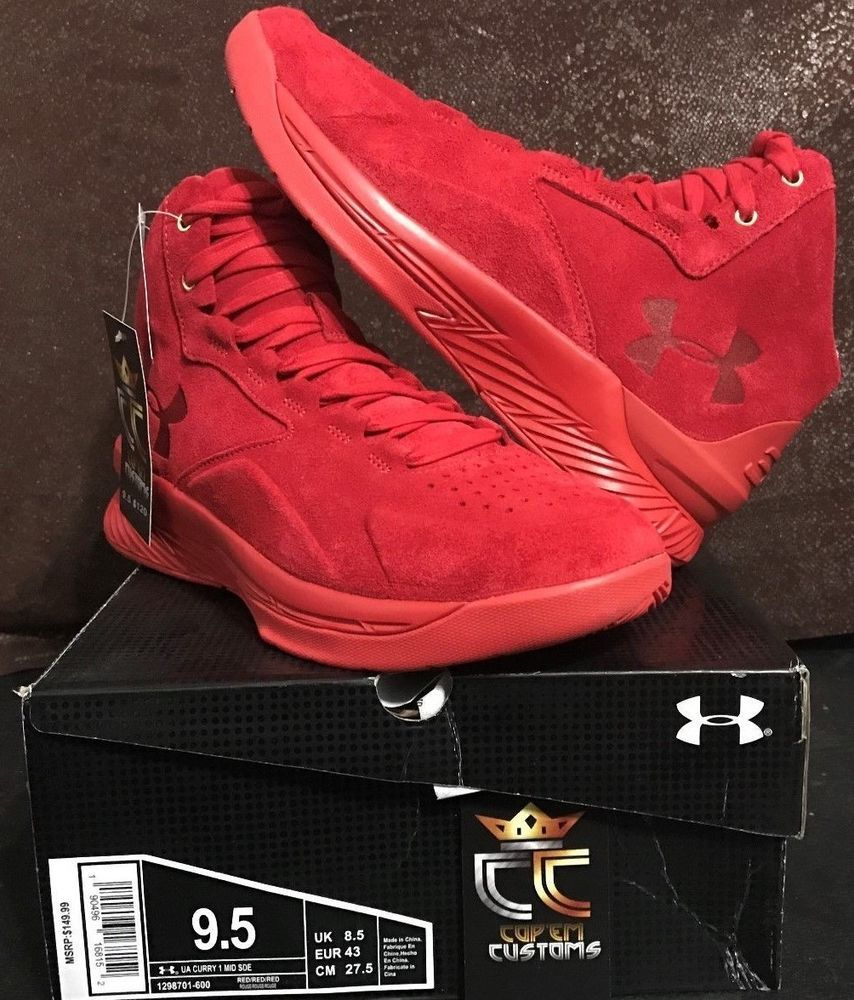 7ccf85e9d83 NEW UNDER ARMOUR UA Curry 1 Lux Mid Suede  Triple Red  MEN SHOE SIZE 9.5   UnderArmour  AthleticSneakers