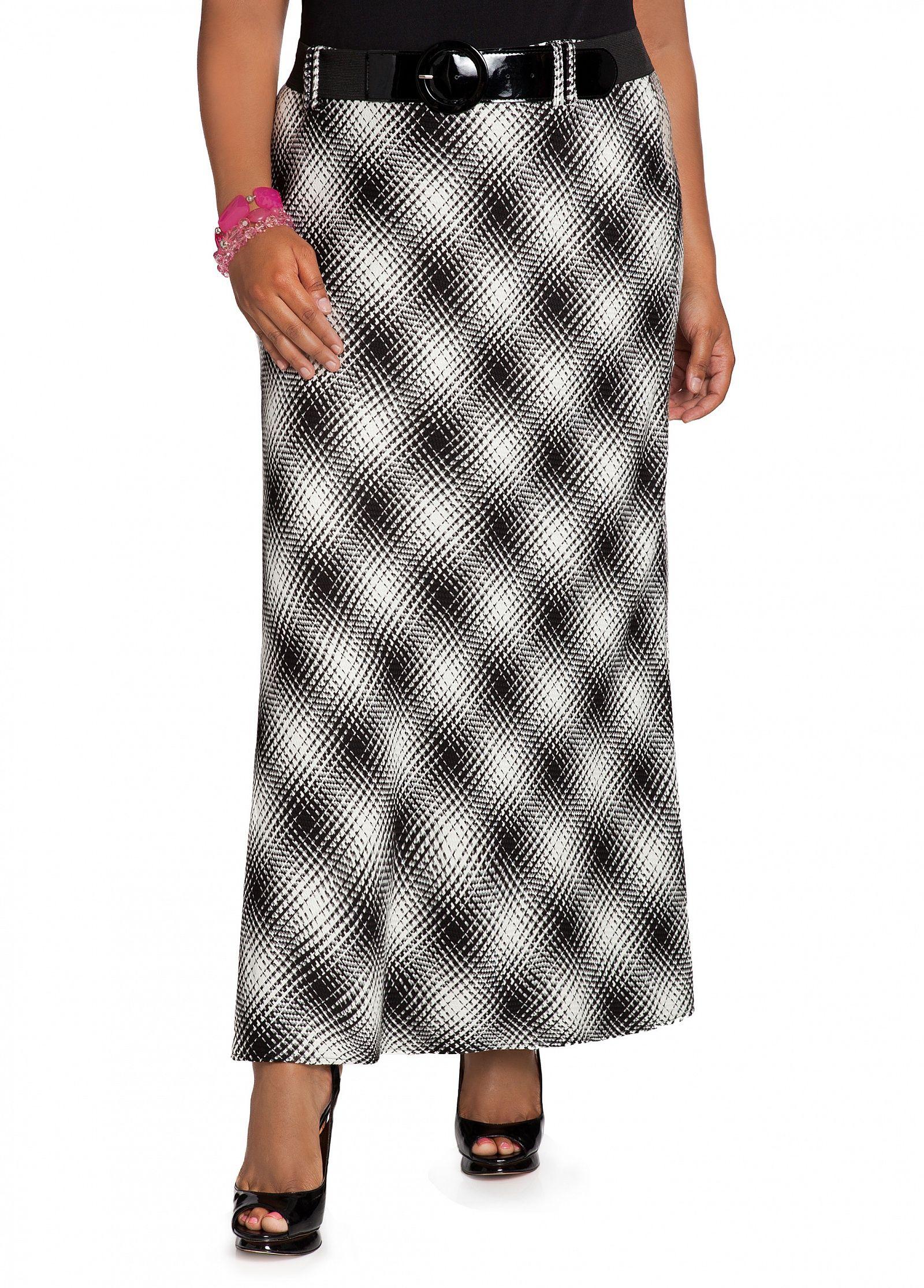 7a1310b93d09b0 Ashley Stewart  Bias Cut Plaid Skirt