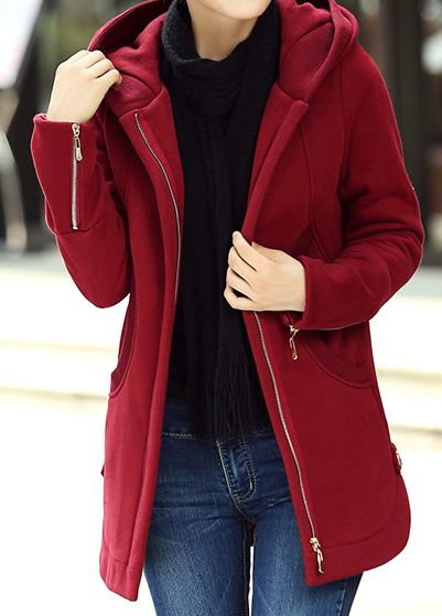 Curved Hooded Collar Zipper Up Wine Red Coat | Curves, Cape jacket ...