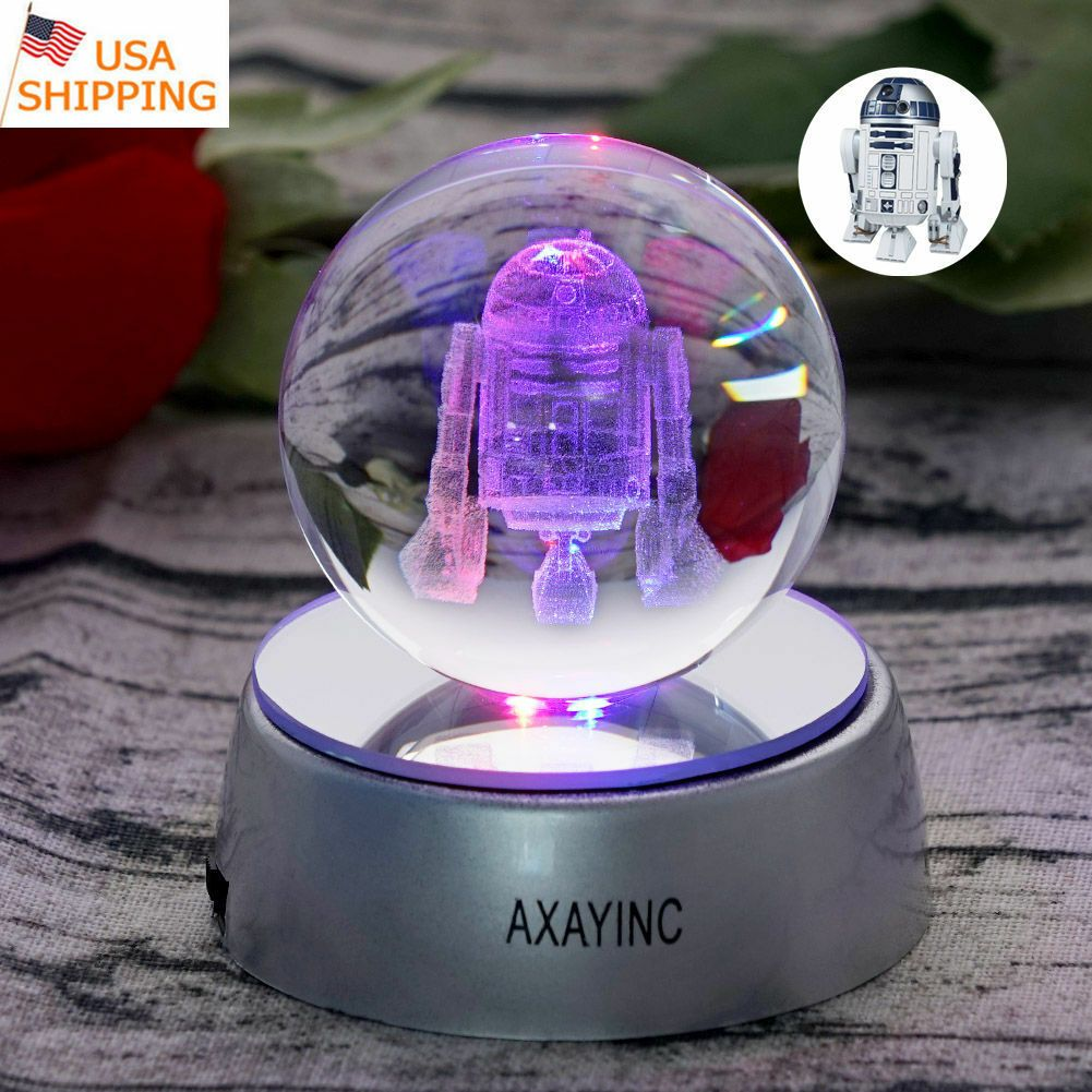 Star Wars The Last Jedi R2 D2 3d Crystal Ball Led Night Light Table Lamp Gift 3d Led Night Light Led Night Light Light Table