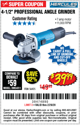 Hercules Corded 4 1 2 In 7 Amp Professional Angle Grinder For 39 99 In 2020 Harbor Freight Tools Angle Grinder Stripping Paint