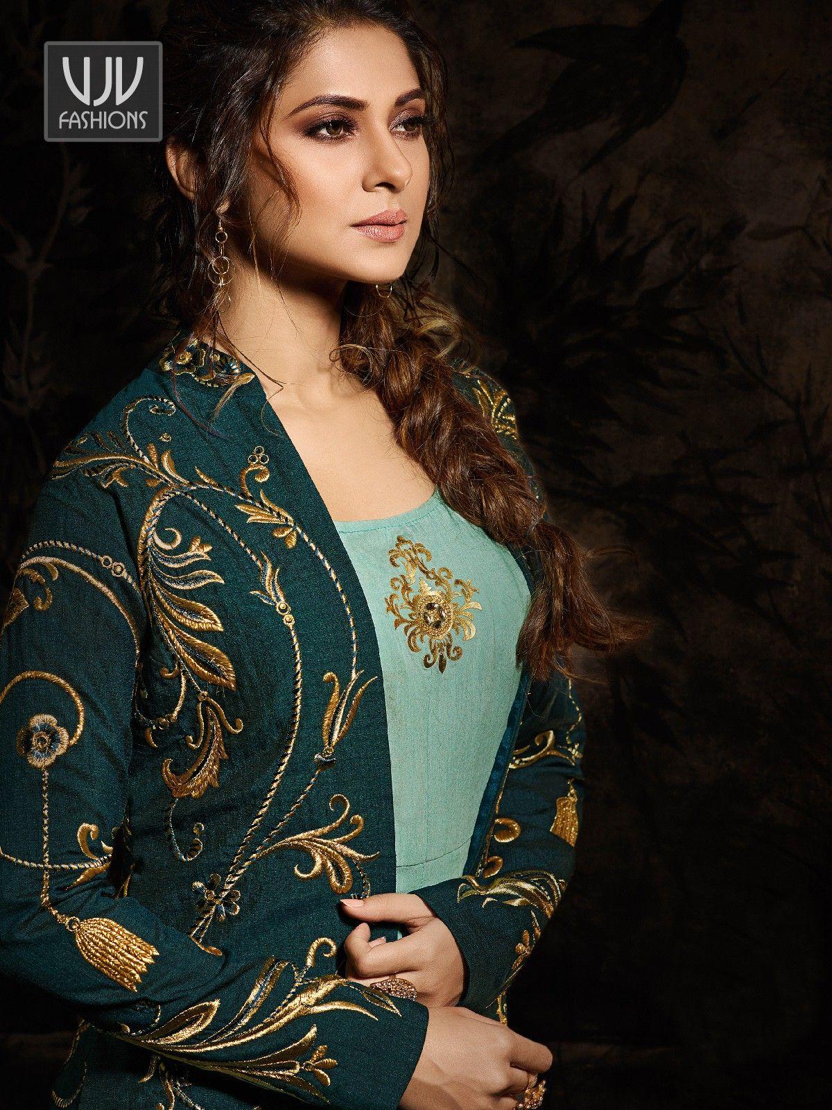 Jennifer Winget Sea Green Color Silk Designer Anarkali ...