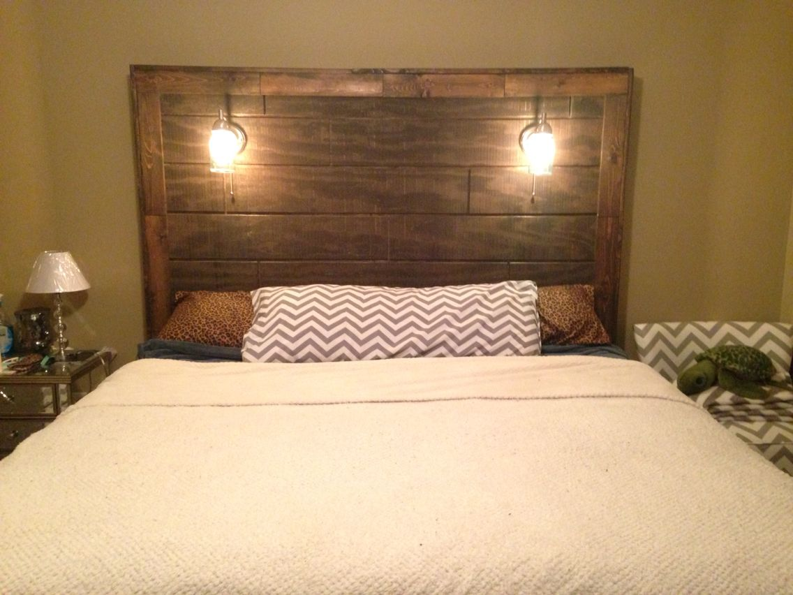 diy rustic wood headboard with mason jar lights and