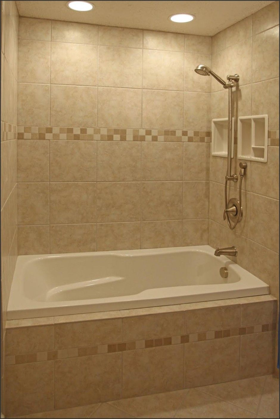 Bathroom:Minimalist White Tub With Brown Ceramic Bathroom Tile Plus ...