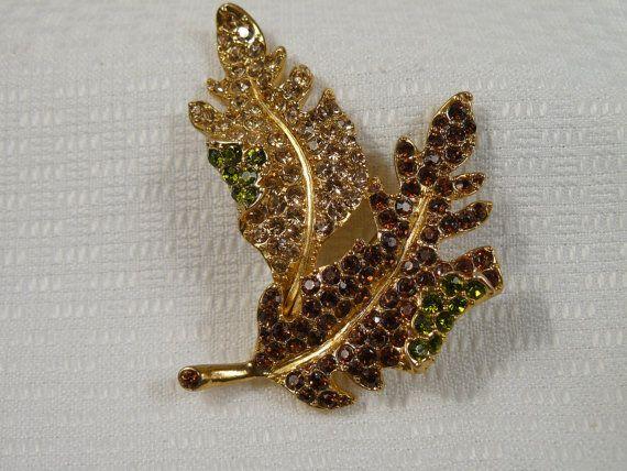 Kenneth Jay Lane KJL Autumn Leaf Pin Brooch by Fairfieldbeachgal, $28.00