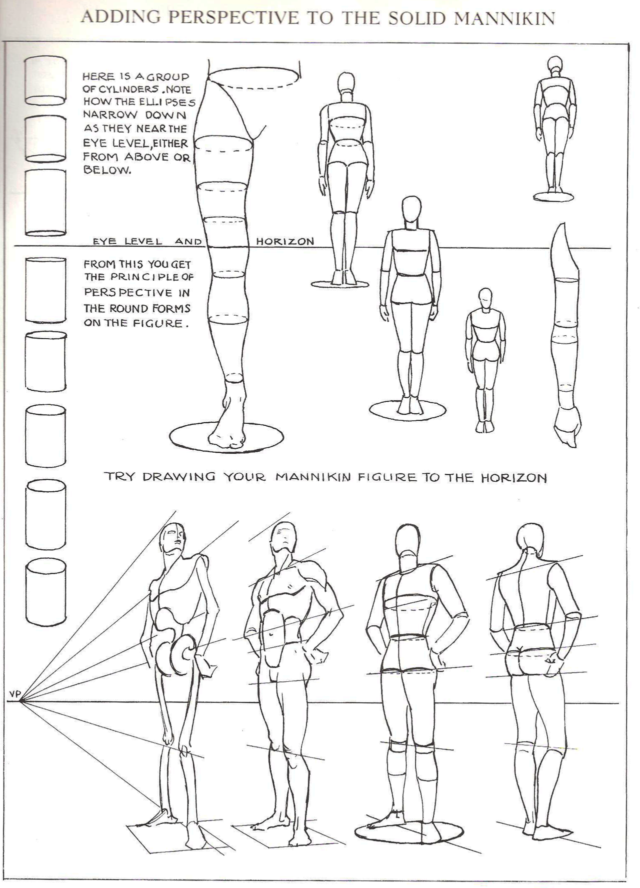 Using Cylinders And A Human Art Mannequin Form For