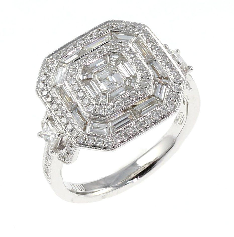 Art Deco Style Jewelry Boxes Art Deco Style Octagonal Diamond Cluster Ring Gold In 2019