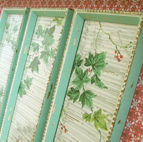 3 Aqua Green Frames Shabby Chippy Chic With Vintage Wallpaper Trio Vintage Wallpaper Framed Wallpaper Wallpaper