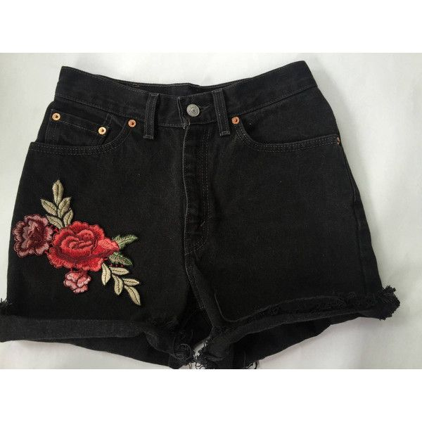 Vintage floral embroidered Levi Jean shorts (325 HRK) ❤ liked on Polyvore featuring shorts, jean shorts, fold over shorts, short denim shorts, vintage denim shorts and vintage shorts