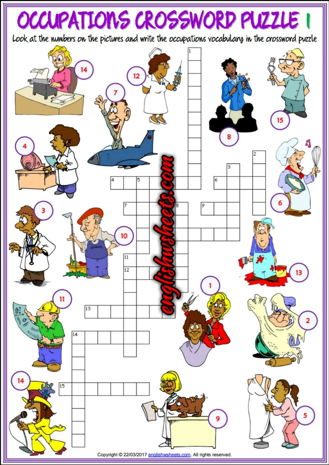 Jobs Occupations Professions Esl Printable Crossword Puzzle Worksheets For Kids
