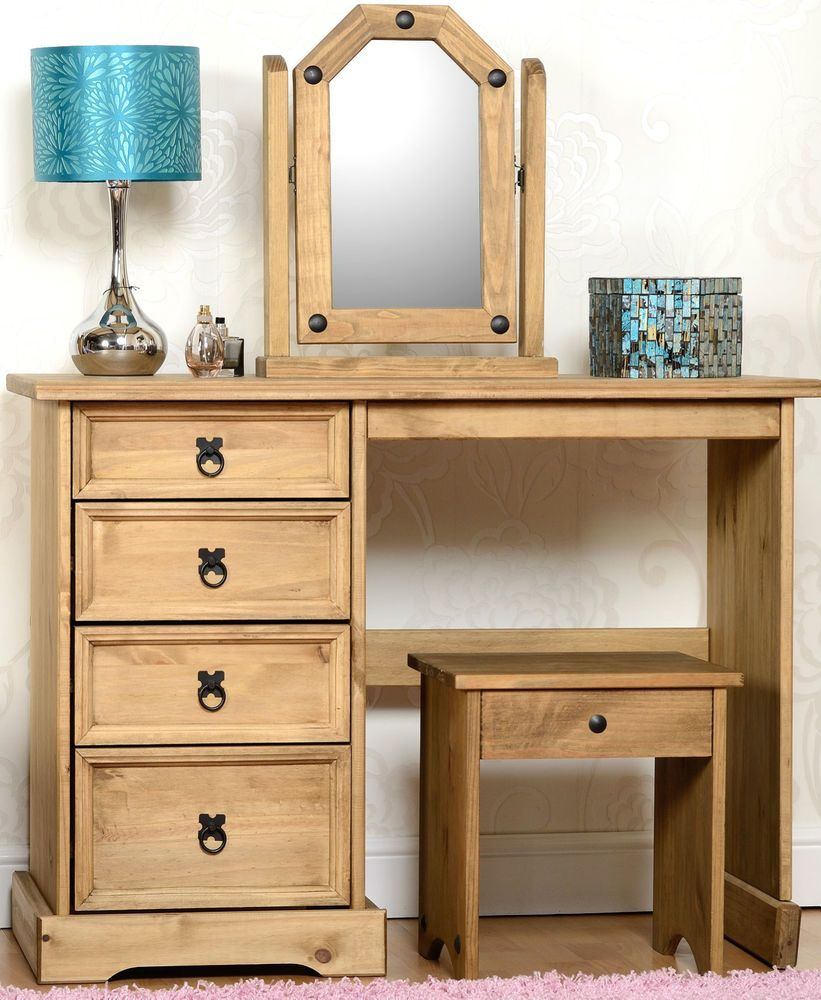 Wooden furniture design dressing table - Corona Distressed Waxed Pine Wooden Dressing Table Stool And Mirror Set