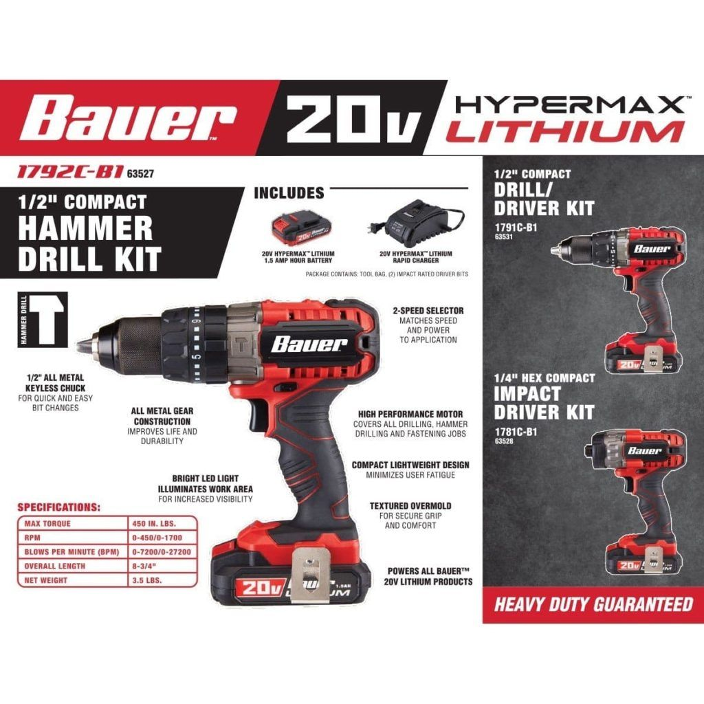 Best Cordless Bauer Hammer Drill Review 2020 Drill Hammer Drill Compact Drill