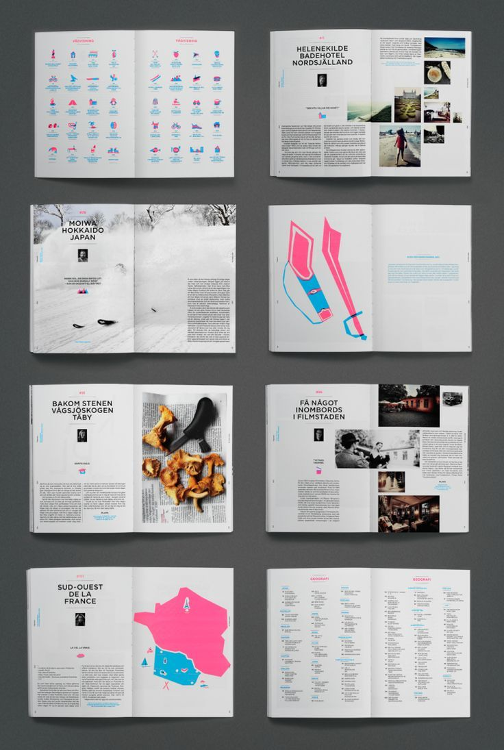 inspiration hut various book layouts from swedish design agency