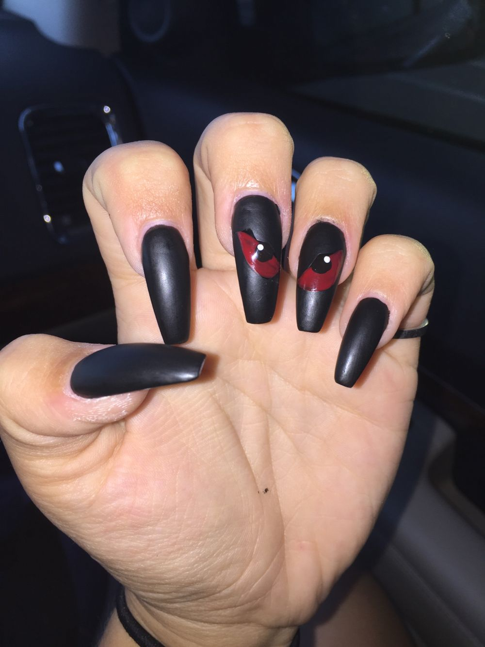 Halloween Nails, coffin shape, matte in 2019