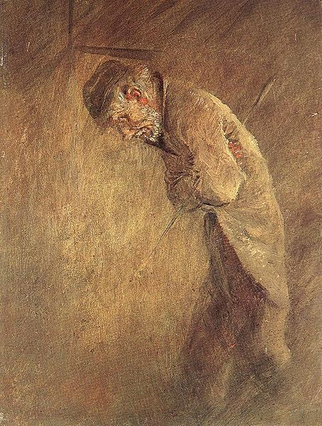 """  The Tramp, 1880s, oil on panel by László Mednyánszky, Hungarian artist, 1852-1919. """