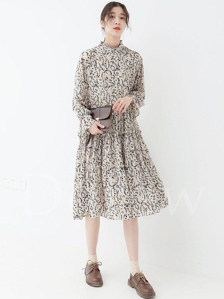 ファッション通販 fashion banmoon dorew花柄レディースファッション着瘦せひざ丈長袖スタンドカラー大振り子ワンピース大人banmoon 商品番号 13657656 ワンピース ファッション レディース 大人ワンピース