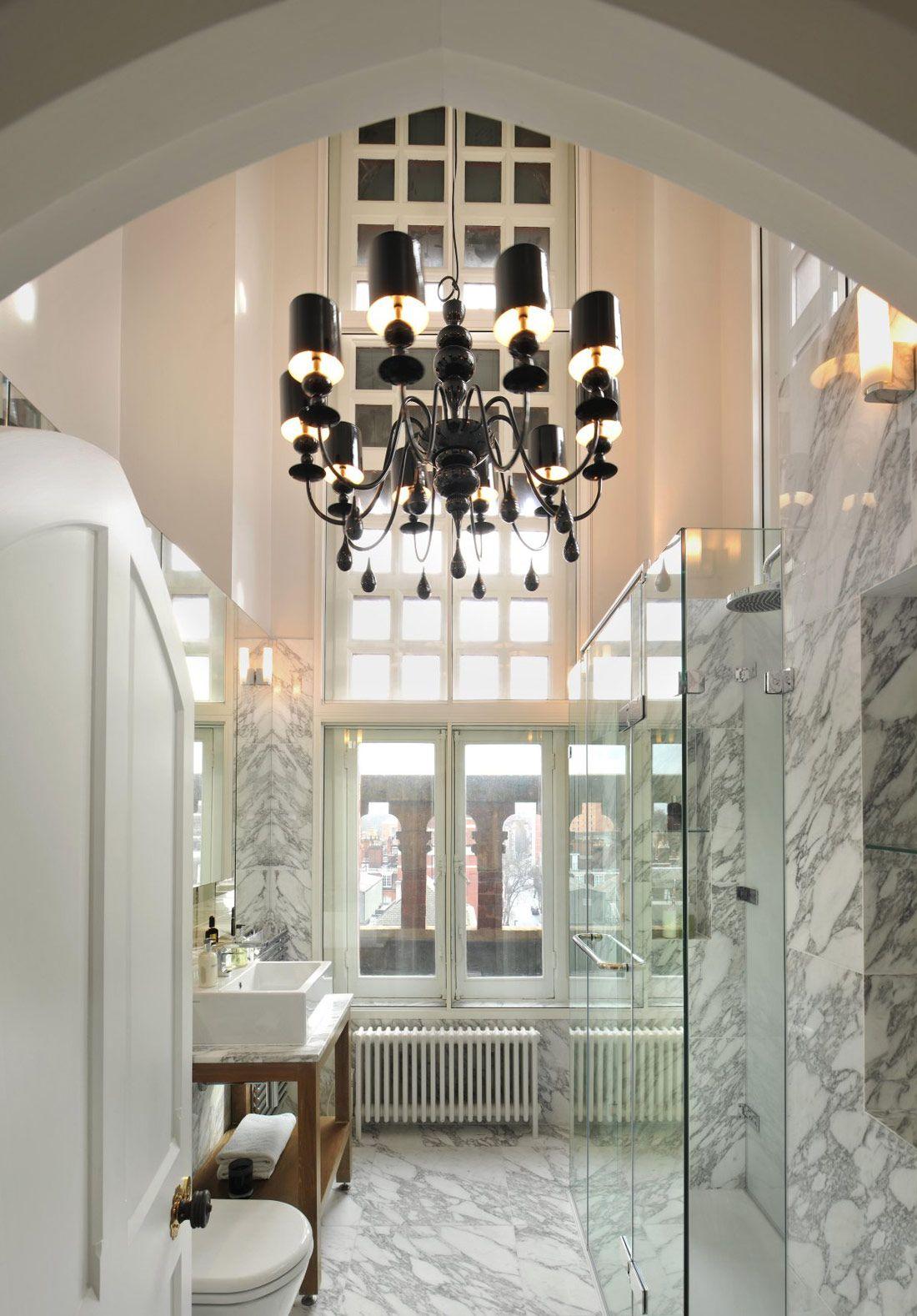 Marble bathroom chandelier st pancras penthouse apartment in marble bathroom chandelier st pancras penthouse apartment in london arubaitofo Gallery