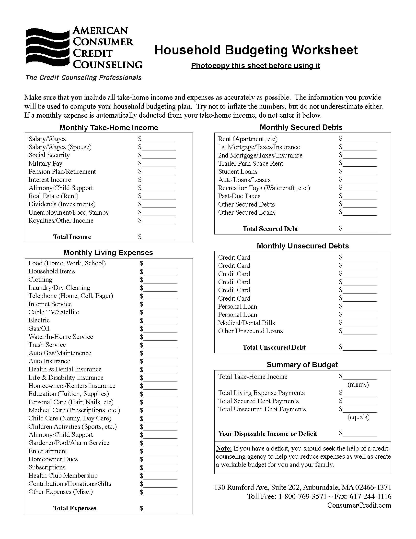 Use This Household Budgeting Worksheet To Help You Get An Accurate