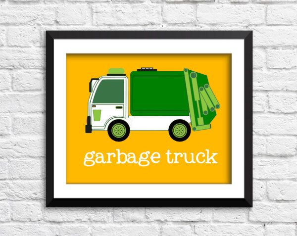 garbage truck art print, garbage truck decor, construction art print ...