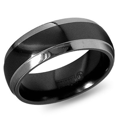 E Wedding Bands.8mm Dome Step Down Edge Black Gray Titanium Wedding Band
