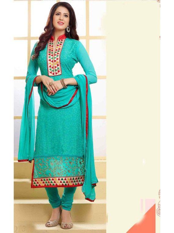 Tangerine Sky Blue Indian Salwar suit