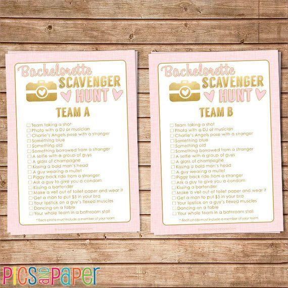 Bachelorette Party Photo Scavenger Hunt Game In Pink And