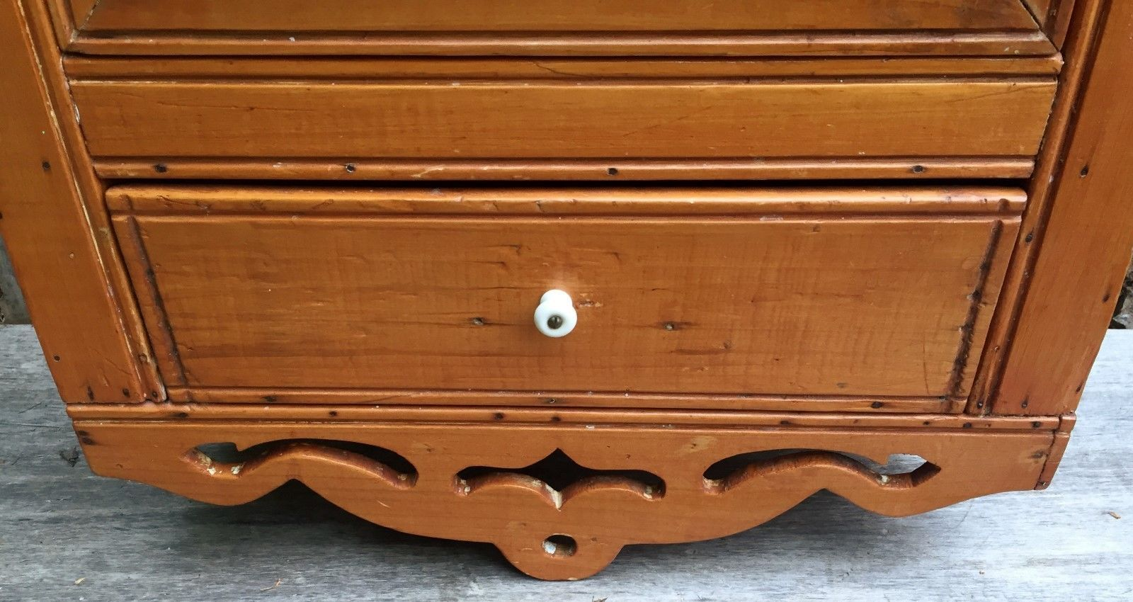 Details about antique th c folk art country pine wall cabinet w