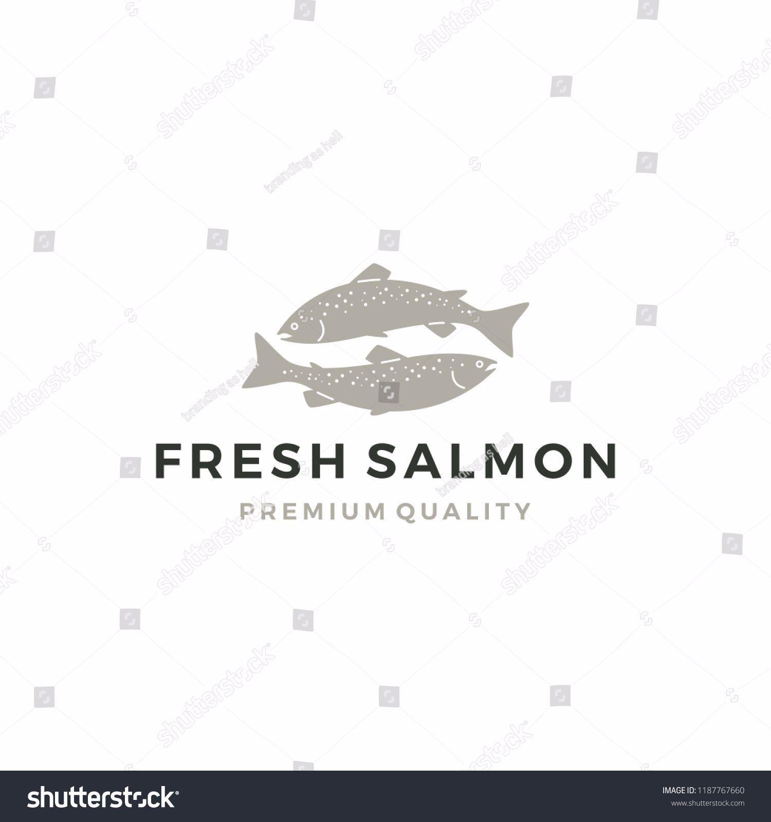 salmon fish logo seafood label badge vector sticker download Salmonlogo