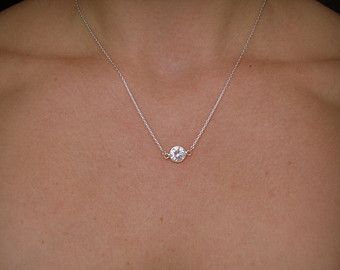 Sterling Silver Cz Solitaire Necklace Rhinestone Crystal