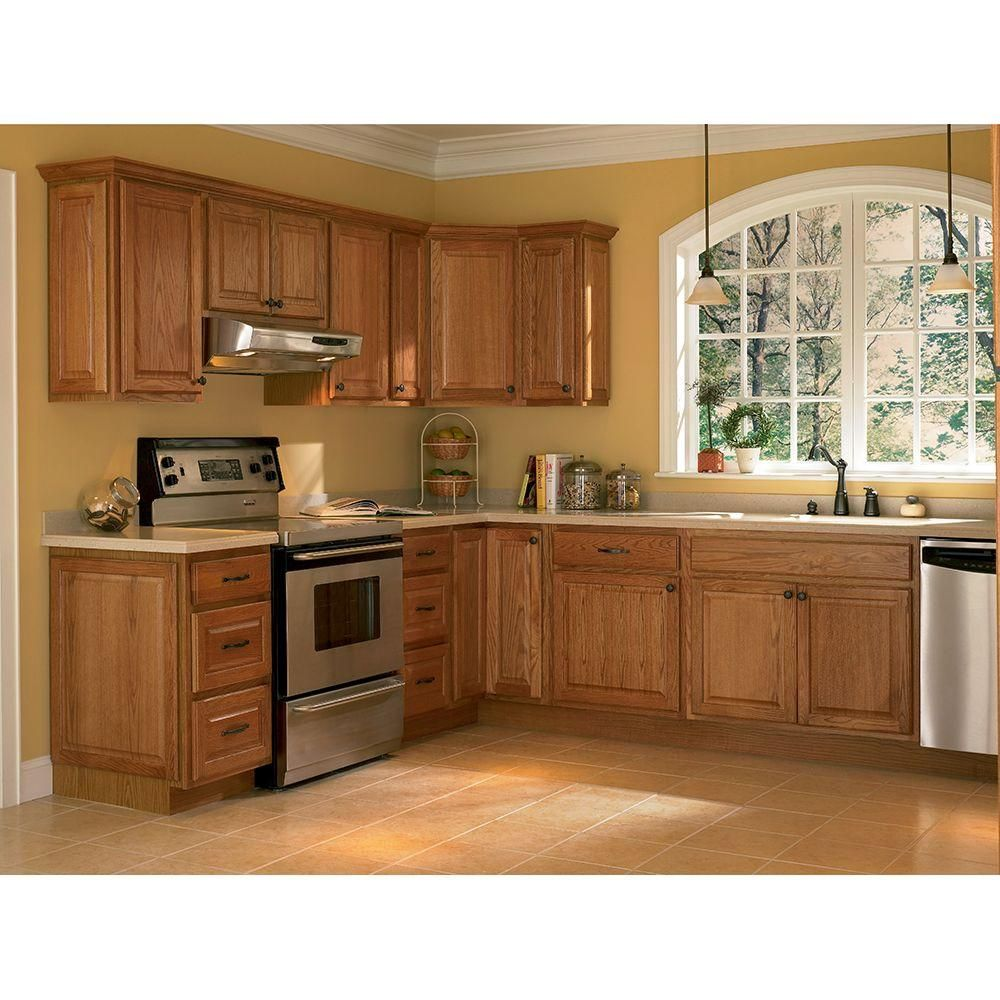 Hampton Embled 9x30x12 In Wall Kitchen Cabinet Medium Oak