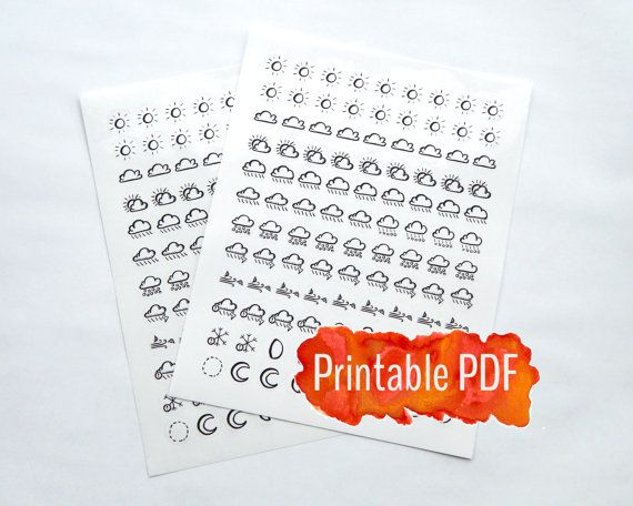 image relating to Bullet Journal Symbols Printable identified as Bullet Magazine Printable PDF - Hand Drawn Climate Symbols