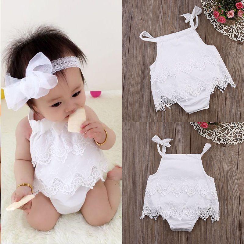 Infant Baby Girl Flower Lace Romper Bodysuit Sunsuit Jumpsuit Outfit Clothes C