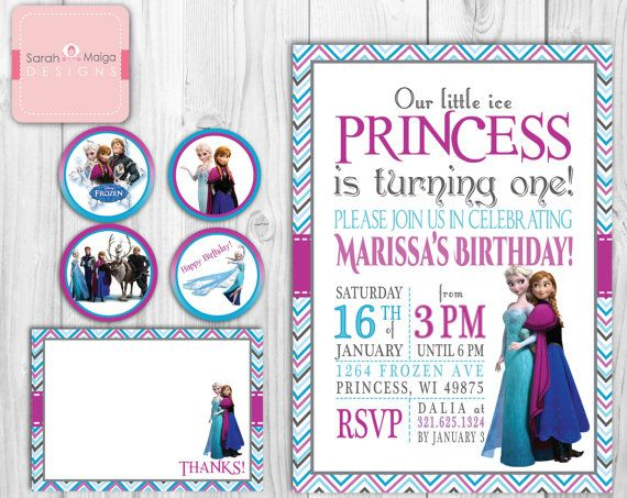 Little Girl Frozen Princess Birthday Invitations Thank You Note